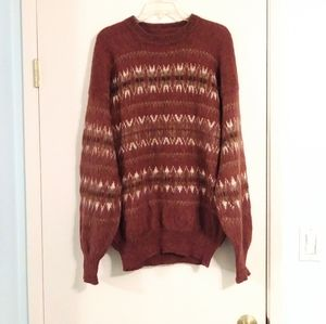 Vintage Super Soft Red and White Oversized Sweater